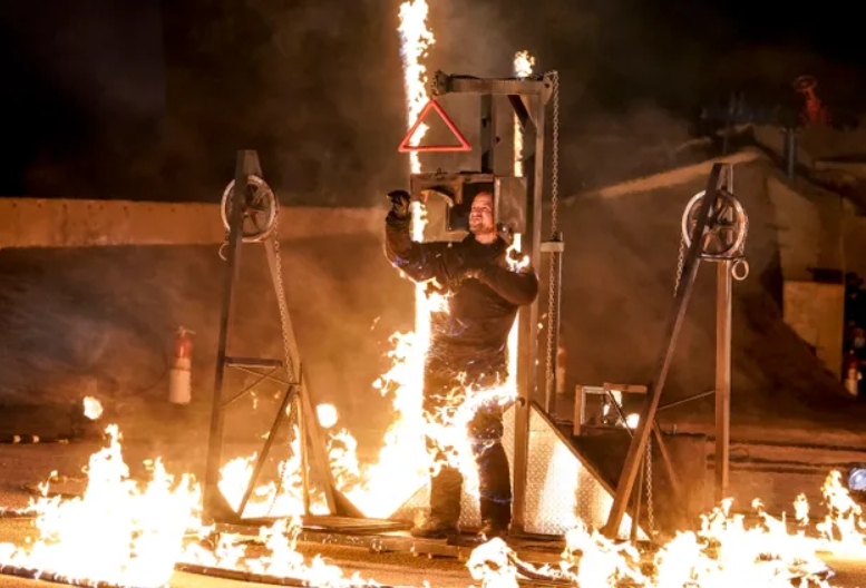 Jonathan Goodwin Catches On Fire During Dangerous Act on AGT
