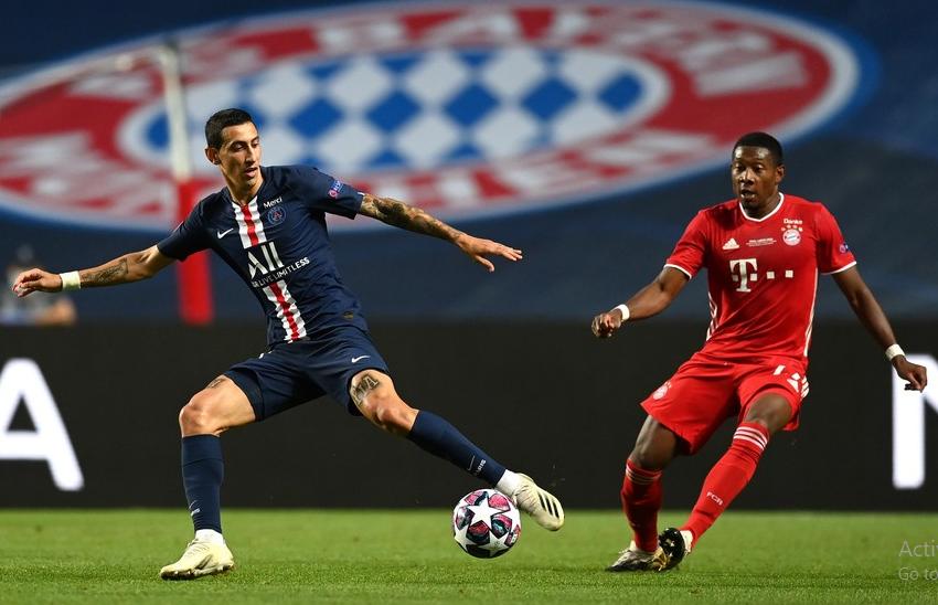 Angel Di Maria of Paris Saint-Germain in action during the UEFA Champions League final match between Paris Saint-Germain and Bayern Munich