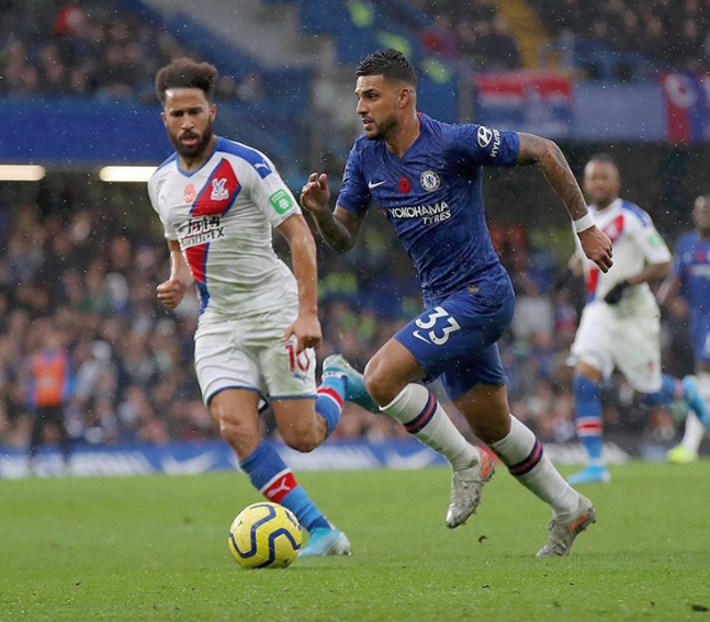 Emerson Palmieri Heading The Ball Against The Opponent