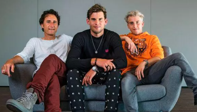 Dominic Thiem with his brither Moritz Thiem and his father, Wolfgang Thiem