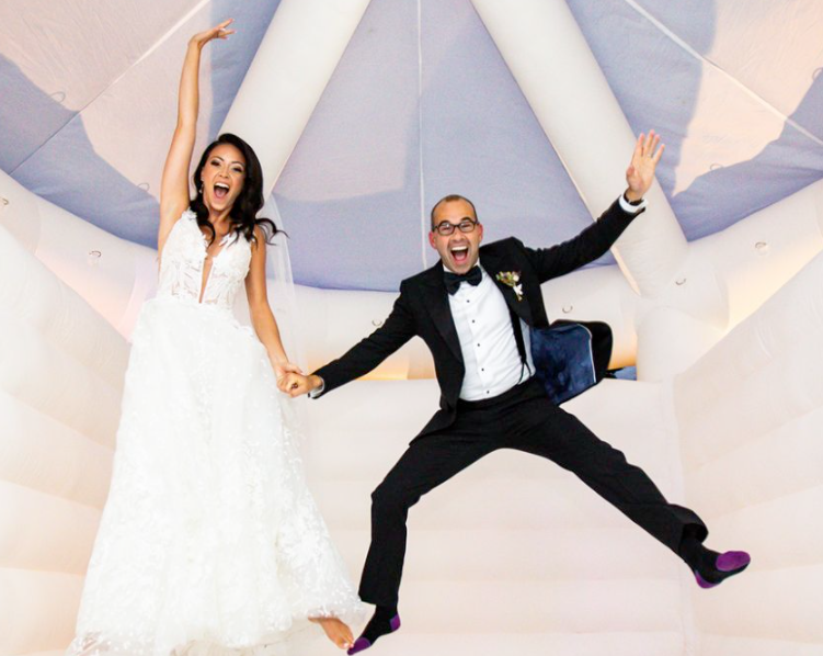 Melyssa Davies and her husband flying with joy