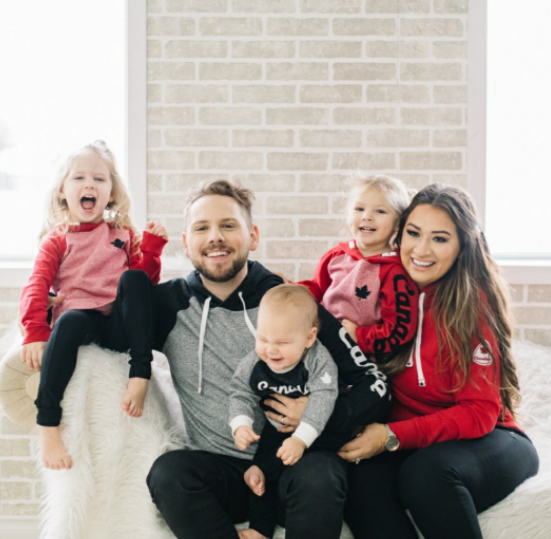 Brett Kissel with his wife, Cecilia and their kids