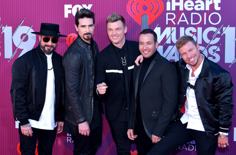 From left to right;AJ McLean, Kevin Richardson, Nick Carter, Howie Dorough, Brian Littrell