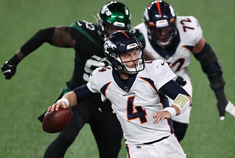 Brett Rypien of the Denver Broncos against the New York Jets