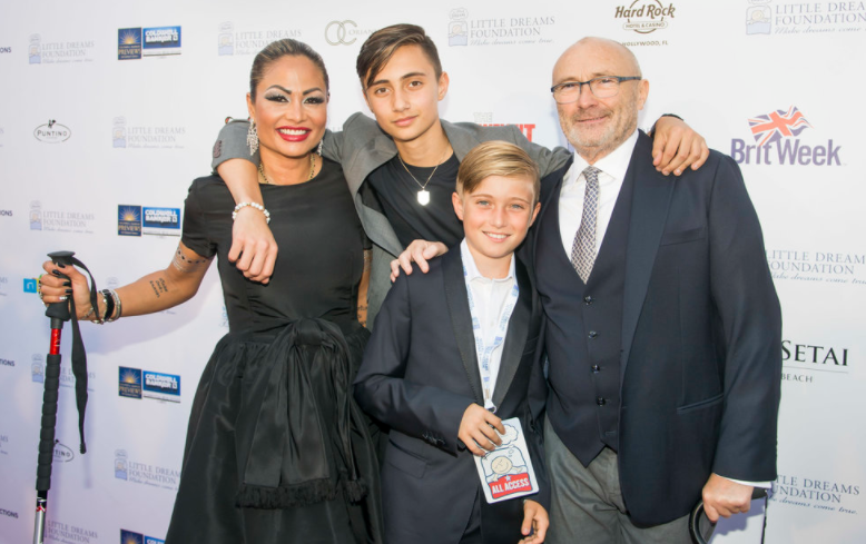Orianne & Phil Collins with sons, Nicholas and Matthew