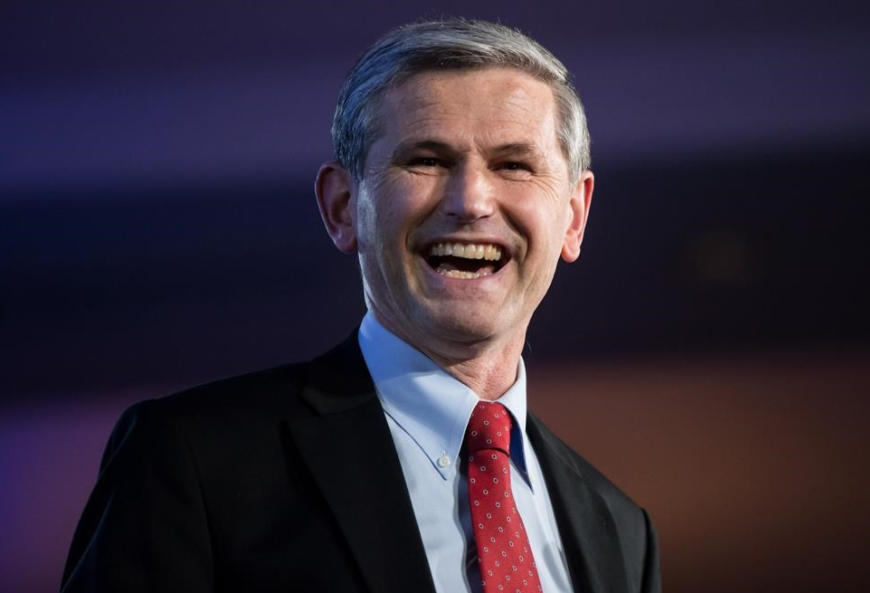 Andrew Wilkinson celebrates after being elected leader of the British Columbia Liberal Party in Vancouver, B.C