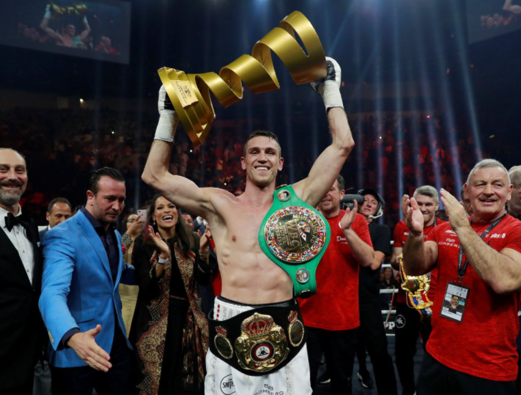 Callum Smith celebrates his stunning win after knocking out George Groves