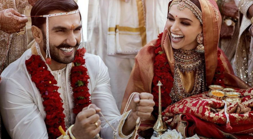 Ranveer Singh and his wife, Deepika Padukone during their marital ceremony