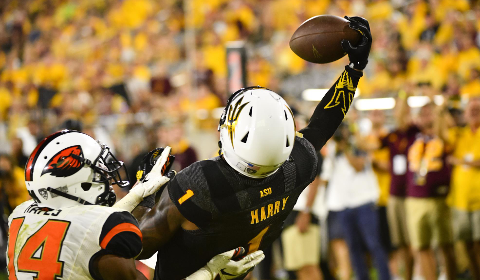 N'Keal Harry holding the ball