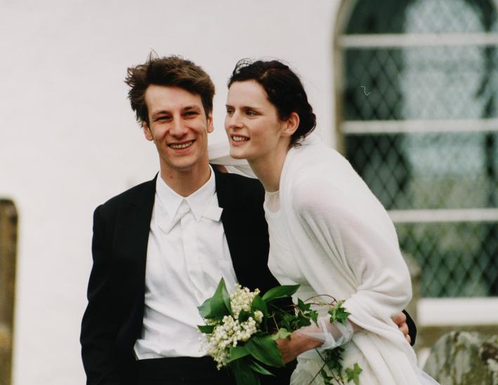Stella Tennant with her husband, David Lasnet