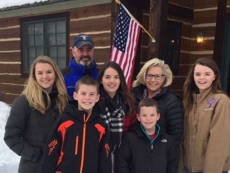 Liz Cheney with her husband, Philip Perry and their kids