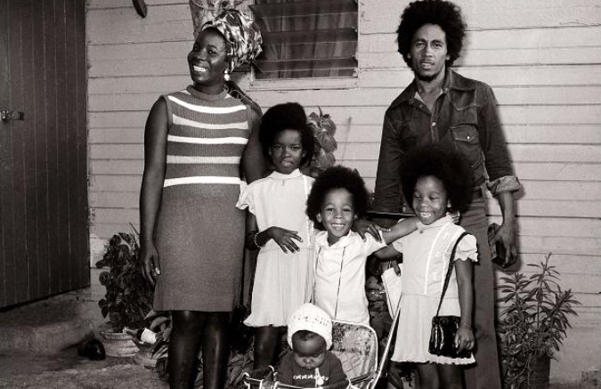 Rita Marley and her husband, Bob Marley with their kids