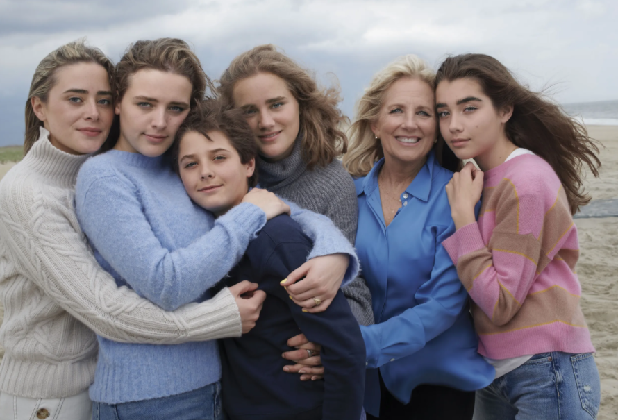 Natalie with her grandmother, and her siblings, Naomi, Finnegan, Hunter, Maisy