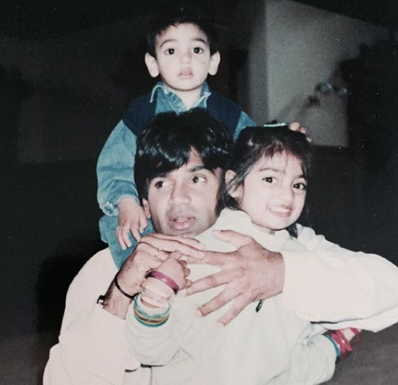 Ahan Shetty with his father, Sunil Shettey and his sister, Athiya