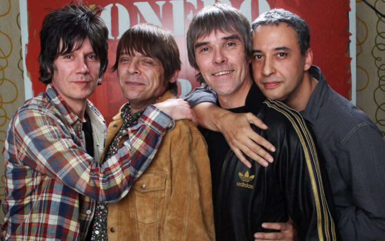 Band Members of The Stone Roses; John Squire, Mani, Ian Brown and Reni