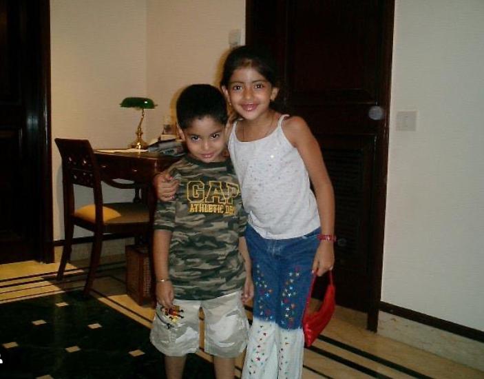 Navya Naveli Nanda with her brother, Agastya during childhood