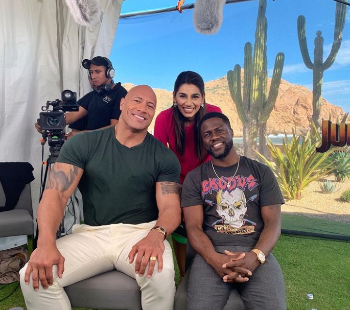 TV Presenter, Sanjana Ganesan with Dwayne Johnson (The Rock) and Kevin Hart