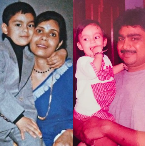 Childhoold Picture of Ishan Kishan with his mom and dad