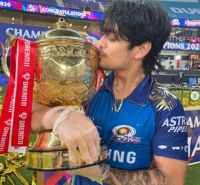 Ishan Kishan Kissing His Trophy