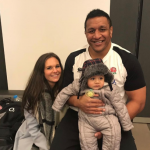 Billy Vunipola with his wife, Simmone and their kids