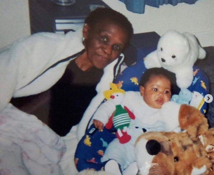 Donel Mangena with her grandmother