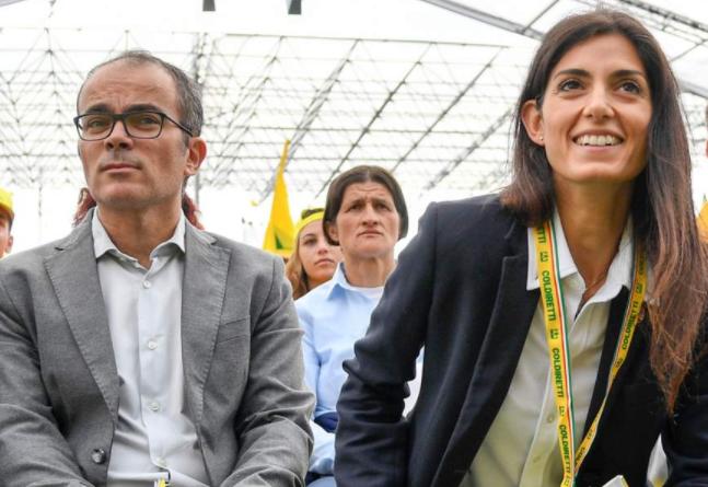 Virginia Raggi and her husband, Andrea Severini