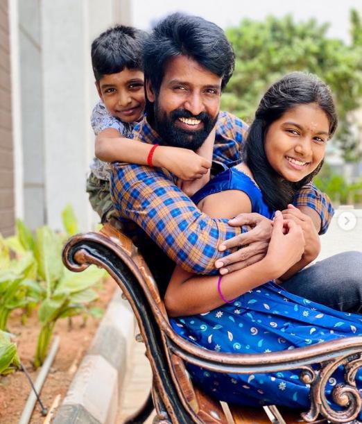 Soori with his daughter, Vennila Soori and son Sarvan Soori