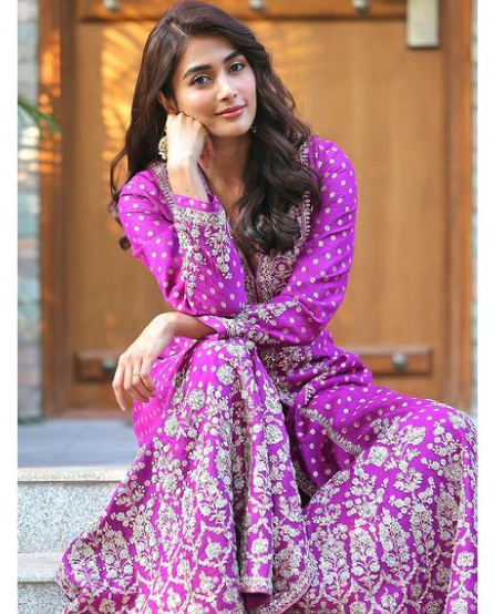 Indian Film Actress and Model, Pooja Hegde in Purple Dress