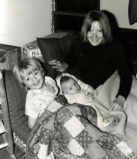 Misha Collins childhood picture with his mother, Rebecca Tippens and his sibling