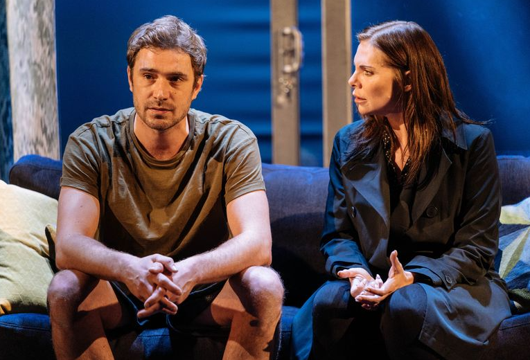 Oliver Farnworth and Samantha Womack in 'The Girl on the Train' which played at The Lowry Theatre in 2019
