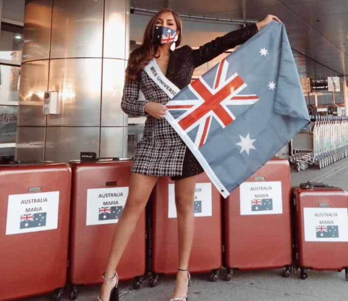 Miss Universe Australia 2020 Maria Thattil has left for the US to compete in the upcoming 69th Miss Universe pageant in Hollywood