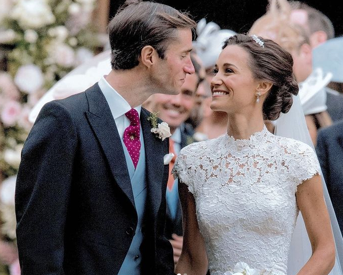 James and Pippa Matthews outside St Mark's Church on the Englefield Estate in Berkshire following their wedding