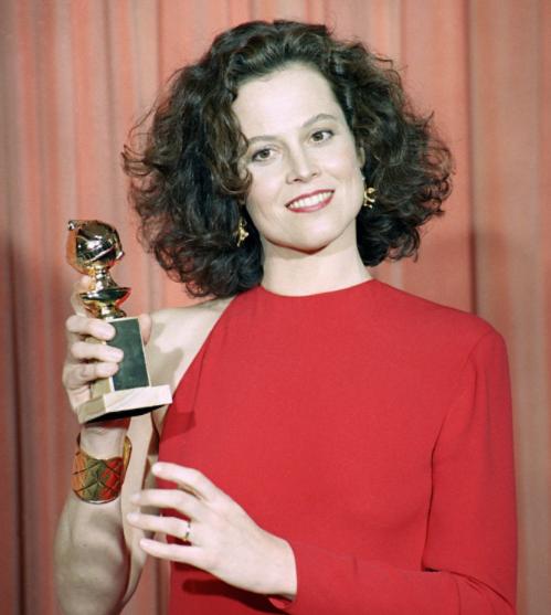 Sigourney Weaver with her Golden Globe Award