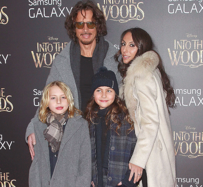 Chris Cornell and Vicky Karayiannis with their kids