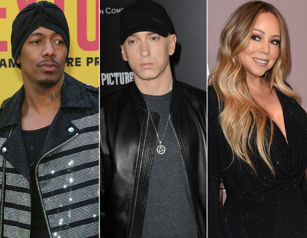 Nick Cannon (Left), Eminem (Middle) and Mariah Carey (Right)